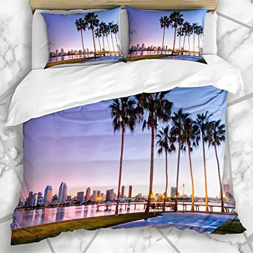 - Ahawoso Duvet Cover Sets King 90x104 San Blue Diego Sunrise On Coronado Island Beach Parks California Skyline Downtown Scenery Design Microfiber Bedding with 2 Pillow Shams