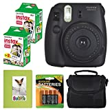 Fujifilm Instax mini 8 Instant Film Camera (Black) + Selfie Photo Album + Instax Mini Twin Pack (40 shots) + Camera Case + AA 4 Batteries + Valued Bundle - International Version (No Warranty)