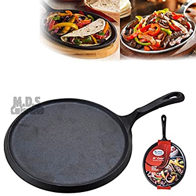 "10"" Heavy Duty Comal Pre seasoned Nonstick Tortilla Pan Griddle Cast Iron Grill"