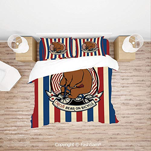FashSam Duvet Cover 4 Pcs Comforter Cover Set Circus Bear on Bicycle Carnival Theme Cute Mascot with Hat on Striped Backdrop Decorative for Boys Grils ()