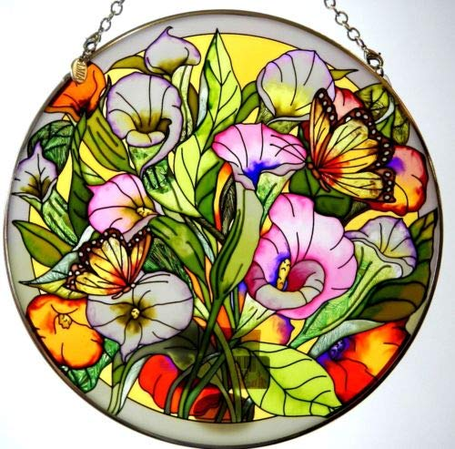Stained Glass Suncatcher Callalilies & Monarch Butterflies 6.5