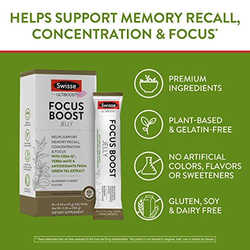 Swisse Ultiboost Focus Boost Jelly Sticks, Blueberry Cherry   Supports Brain Function, Memory Recall, & Concentration…