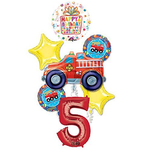 Fire Truck Fire Engine 5th Birthday Party Supplies and Balloon Decorations -