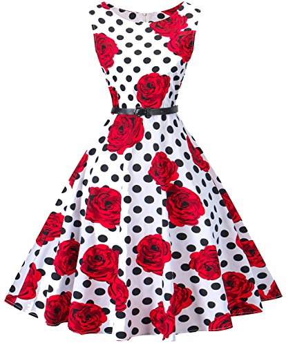 (I2CRAZY Womens Boatneck Sleeveless Vintage 1950s Retro Rockabilly Prom Tea Dress with Belt  ,3X ,)