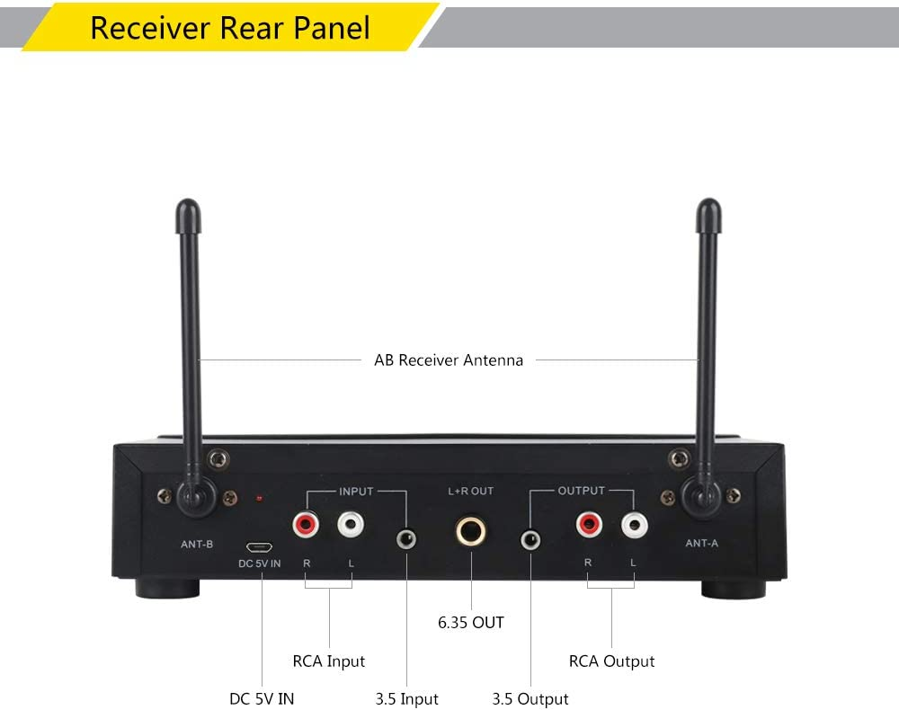 Wireless Microphones Receiver Built-in Battery XTUGA UH110 UHF ...