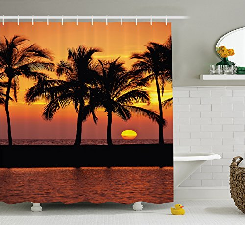 Palm Tree Decor Shower Curtain by Ambesonne, Caribbean Horizon Dusk Time Romantic Peaceful Coastal Charm Scenery , Fabric Bathroom Decor Set with Hooks, 70 Inches, Orange Black (Caribbean Hooks House)