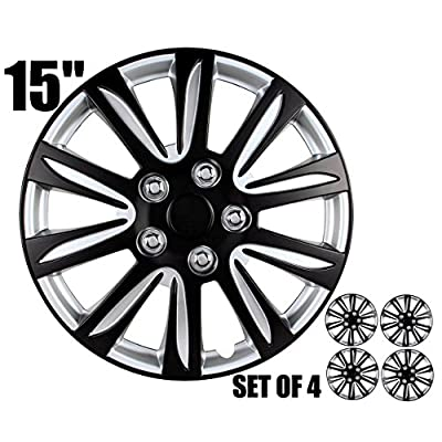 15 inch Hubcaps - Black and Silver, Marina Bay, Universal Fitment 15