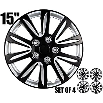 Amazon Com 15 Inch Hubcaps Black And Silver Marina Bay