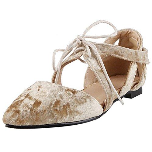 COOLCEPT Mujer Moda Sin Cordones Sandalias Cerrado Hueco Planos Zapatos (36 EU, White)