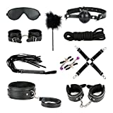 Comfortable Bed Restraints System , 10 Piece Bondage Restraint Kit with Cuffs Set / Blindfold / Cosplay Choker Collar / Whip for For Couples