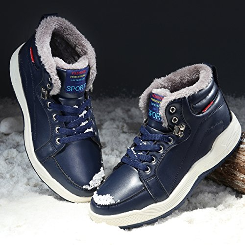 Stivali Da Neve In Pelle Uomo Santimon Scarpe Stringate Alte Alla Caviglia Scarpe Invernali Con Fodera In Pelliccia Blu Scuro