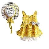 Yalasga 3PCS Little Girls Summer Outfits Clothes Floral Vest T-Shirt Tops +Shorts Pants+Sun Hat Set (Yellow, 2T)