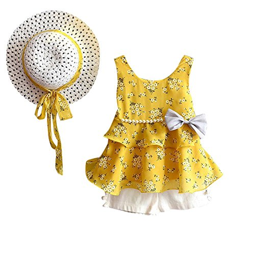 Yalasga 3PCS Little Girls Summer Outfits Clothes Floral Vest T-Shirt Tops +Shorts Pants+Sun Hat Set (Yellow, 2T) ()