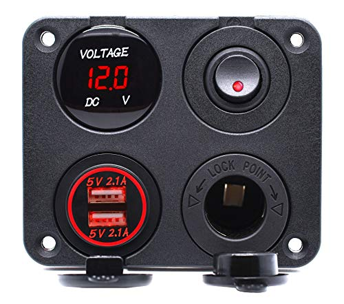 Cllena 4 in 1 Multi-Functions Panel, Dual USB Charger Socket 4.2A + Digital Voltmeter + 12V Power Outlet + ON-Off Toggle Switch for Car Marine Boat Truck Rv ATV UTV Golf Cart Camper etc. (Red) ()