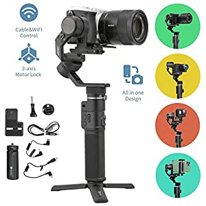 FeiyuTech G6 Max 3-Axis Handheld Gimbal Stabilizer (G6 Plus Upgrade Ver) for Mirrorless Camera Like Sony a7 w/Short Lens,Action Camera Gopro,Smart Phone iPhone 11 Pro Max 8,1.2Kg Payload,Splash Proof 26