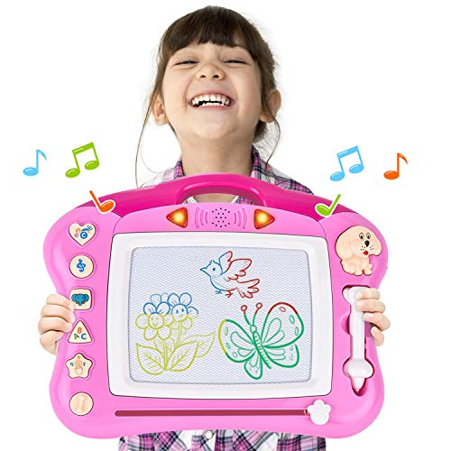 (Rainbrace Kids Magnetic Drawing Board 15x11 Musical Magna Doodle Board Erasable Drawing Pad, Toys for 3+ Year Old Girls Boys Toddlers - Pink)