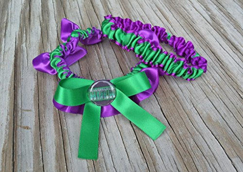 SEXY Superhero Character Inspired Green & Purple Bridal Satin Wedding Keepsake Or Garter ()