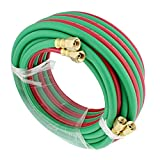 "oxy cutting hoses - ABN Oxygen Acetylene Hose 1/4"" Inch B Fitting Twin Welding Hose 25' Foot Oxy Acetylene Torch Hose Cutting Torch Hoses"