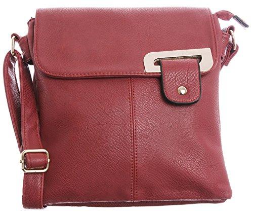 Big Handbag Shop - Bolso bandolera para mujer, tipo messenger, cruzado, tamaño mediano - Red - Gold Trim