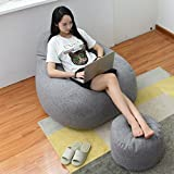 Fityle Large Size Adult Beanbag Covers Teen Bean Bag Chair Kids Seat Children's Chair Cover - Gray