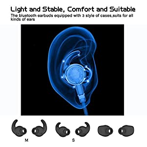 Aptx Bluetooth Headphones, Mini In Ear Bluetooth 4.1 AptX Stereo Magnetic Wireless Earbuds Snug Fit for Sports with Built in Mic BT-519(7 Hours Playtime, cVc 6.0 Noise Cancelling Microphone)