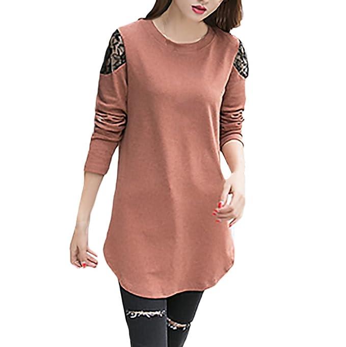 Adelina Camisa De Manga Larga Mujer Otoño Fashion Encaje Splice Cuello Redondo Camiseta Elegantes Color Sólido Casual Anchos Talla Grande Blusas Camisa ...