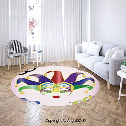 AngelDOU Printed Soft Boys and Girls Round Area Rug Abstract Style Illustration of Christmas Carnival Masks Jester Design Print Sofa Chair Decor Anti-Slip Floor Mats