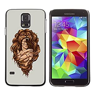 Diseño Slim Duro PC/Carcasa de aluminio carcasa para Samsung Galaxy S5SM-G900Mujer Amazon Warrior Lion Wild Nature Art/JUSTGO PHONE PROTECTOR