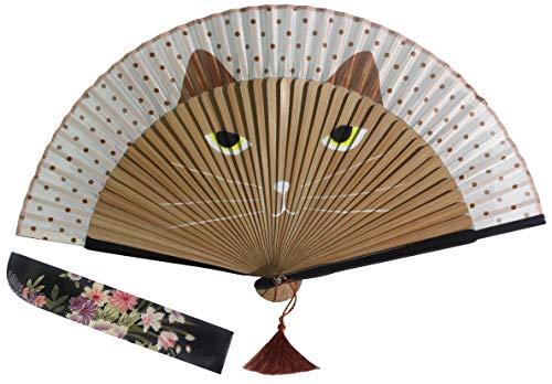 Goege Bailey Women Cartoon Cat Folding Silk Fan Jepanese Girls' Handheld Fan (Brown1)