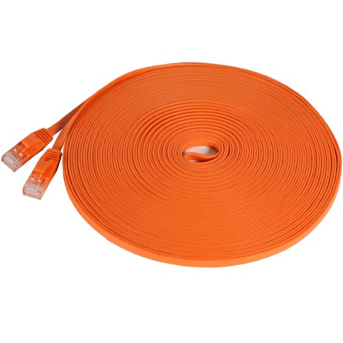 Orange Networking Cables - Fosmon Ethernet Cable Flat (50 Feet - Orange), Supports RJ45 Cat6 / Cat5e / Cat5 Standards, 250MHz, 1.0Gbps - Computer Networking Patch Cable Cord