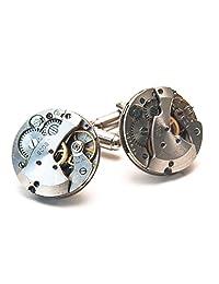 Jeff Jeffers Handmade Men's 21Mm Round Watch Movement Cufflinks Steampunk Wedding Cuff Links Silver