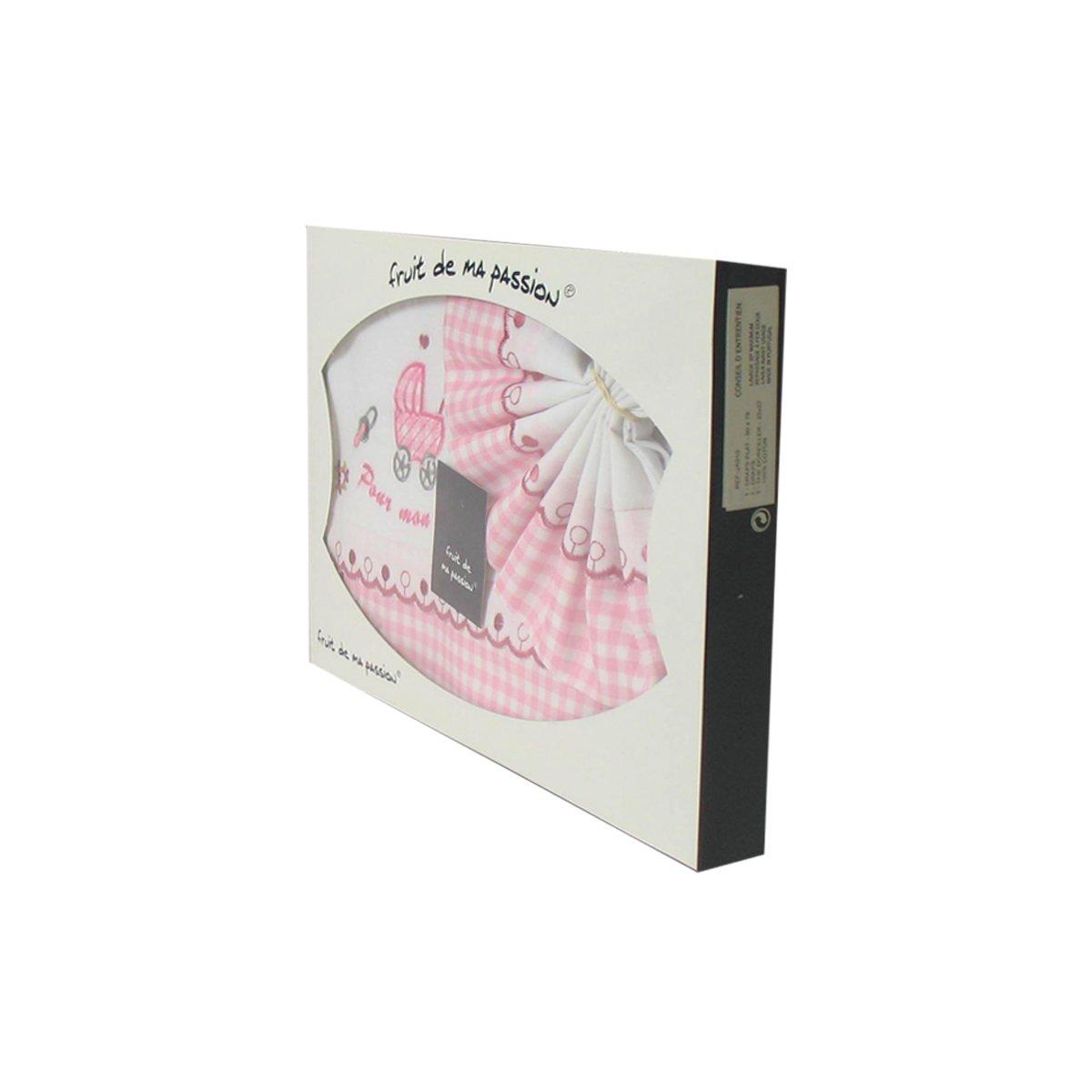 landau couffin rose /à carreaux Coffret Parure de draps pour berceau Motif Poussette B/éb/é