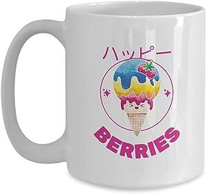 Mug Japanese Ice Cream Berries Gift For Japan Lover Food Asian Fan Coffee Tea Cup Large 15 Oz