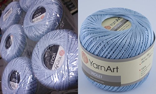 100% Mercerized Cotton Yarn Threads Crochet Lace Hand Knitting Yarn Embroidery Arts Crafts YarnArt VIOLET Lot of 6skn 300gr 1848yds Color Super Light Blue 4917 by Yarn Art