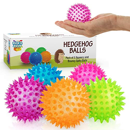 Hedgehog Ball (Squishy Stress Relief Sensory Toys Fidget Spiky Ball 5 - Pcs Set – Eco-Friendly Squeezy Antistress Toy Balls for Men, Women, Adults, Teens & Children –Ideal for People with OCD, ADHD, ADD & Autism)