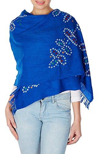 Blue wool scarf women's accessories handmade tie dye stole anniversary gifts by ShalinIndia