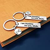 2Pcs Best Friend Keychain Thank You Gift for I am