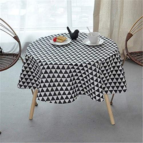 Ami0707 Mantel de Navidad Moderno Gris 150CM Cubierta de Mesa Redonda Manteles de Lino de algodón Estilo nórdico Tablero de ajedrez Amarillo Paños de Mesa Redonda Decorativos para el hogar: Amazon.es: Hogar