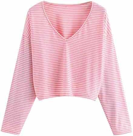 7c34fb1c4 Sannysis Hoodies for Girls, Fashion Women Casual Shirt Long Sleeve V Neck  Striped Top Blouse