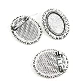 130 Pieces Antique Silver Tone Jewelry Charms Findings Supplier Crafting Craft Making E7TF2H Pinback Brooch Oval Cabochon Setting Blank