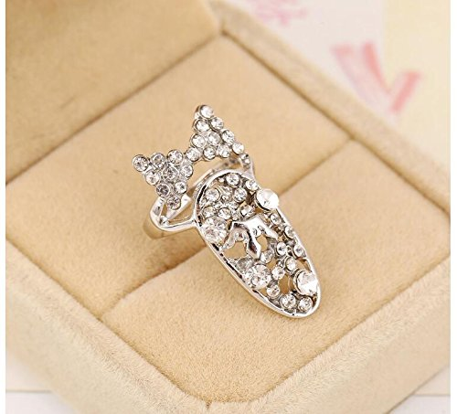 (Hitommy Stylish individual diamond-encrusted bow tie nail ring )