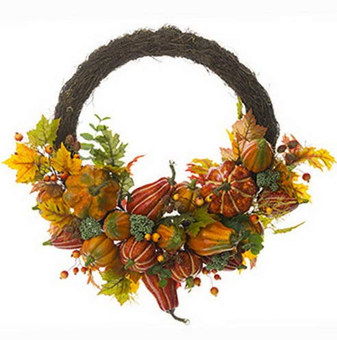 Mikash 30 Pumpkin, Maple, Oak, Sedum Rosehip Artificial Hanging Half Wreath -Fall (p | Model WRTH - 471]()