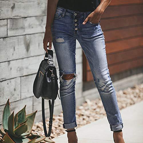 Trou Denim Bleu la HauteSisit Taille Veau vas Jeans Femmes Taille Pantalon Pantalon Haut Stretch Jeans Slim Coupe Cowboy Pantalon Skinny Pwgx48qn