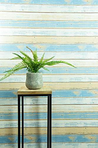 Textured Peel and Stick Wallpaper by Happy House - Faux Distressed Wood (Blue) for Accent Wall - Easy Hang Self Adhesive Contact Vinyl - Temporary Removable Wallpaper Stick and Peel Backsplash