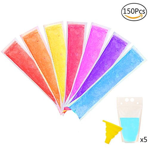 SERONLINE 150 Pcs Ice Popsicle Molds Bags, 5 Beverage Bags, for Making Yogurt Sticks, Fruit Smoothies and other Healthy Snacks, with Funnel