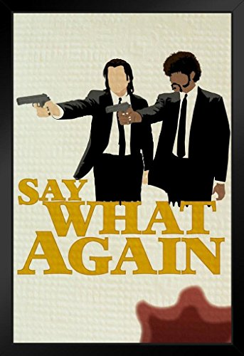 Say What Again Minimalist Movie Framed Poster 14x20 inch