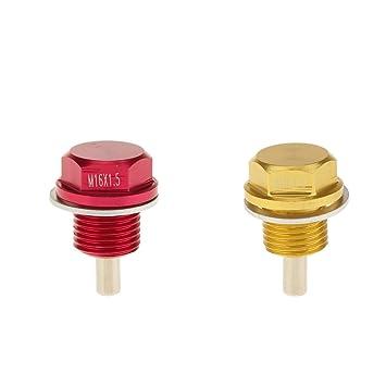 Sharplace 2 Unidades de Tapón de Drenaje de Aceite para Coches Hecho de Metal - Rojo