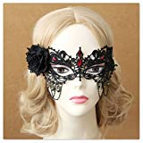 QTMY Black Flower Eye Mask with Red Diamond Headdress Hairdress for Halloween Party Costume
