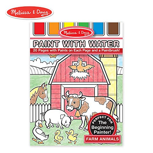 Melissa & Doug Paint With Water - Farm Animals, 20 Perforated Pages, Spillproof Palettes (Farm Animals Arts And Crafts For Toddlers)