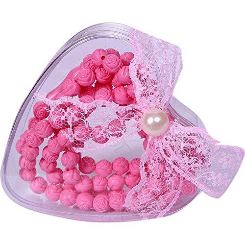 LaModaHome Muslim Prayer Beads Rose Designed & Perfumed - Gift Boxed%100 Natural & Pink & Rose Shaped & 99 Beads & Decorated Tassels Made in Turkey & Tasbih & Muslim Rosary ()
